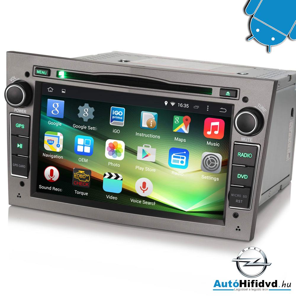 OPEL Antara, Astra H, Combo, Corsa C, D, Meriva,Tigra, Vectra C, Vivaro, Zafira Gyári Kinézetű Android AutóHifi