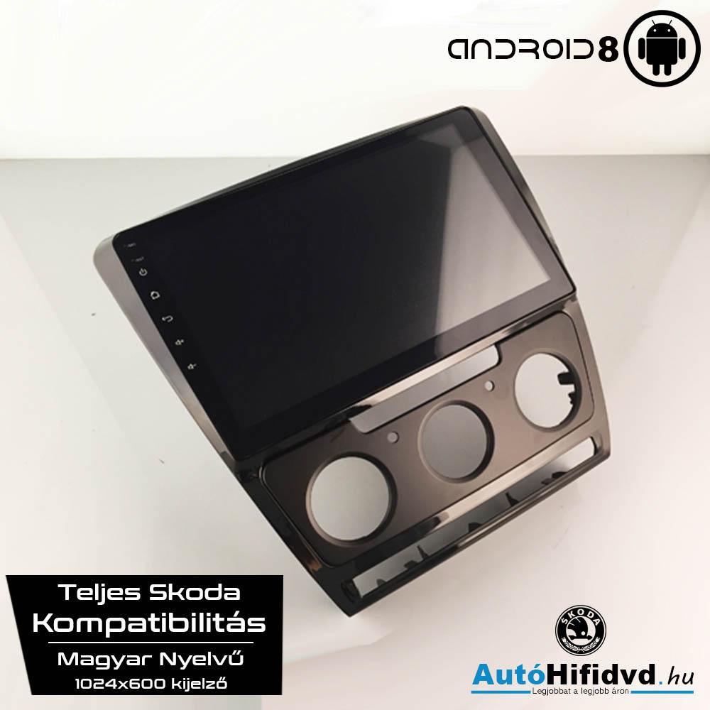 Garanciális Skoda Octavia AutóHifi, Gyári Kinézetű Autórádió (SKODA OCTAVIA 2010-2014) MárkaSpecifikus Multimédia (Magyar Nyelvű, 4 GB RAM) Android 8 GPS Navigáció (Waze) (MANUÁLIS KLÍMA)